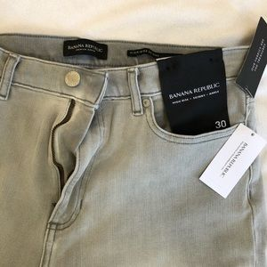 Banana Republic high rise, skinny ankle grey jeans
